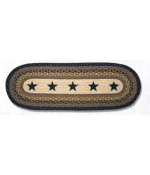 OP-99 Black Stars Oval Patch Runner 13 in.x36 in.x0.17 in.