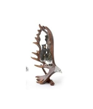 Bear/Eagle Antler Carving 10 in. H