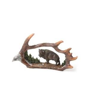 Buffalo Antler Carving 9 in. W
