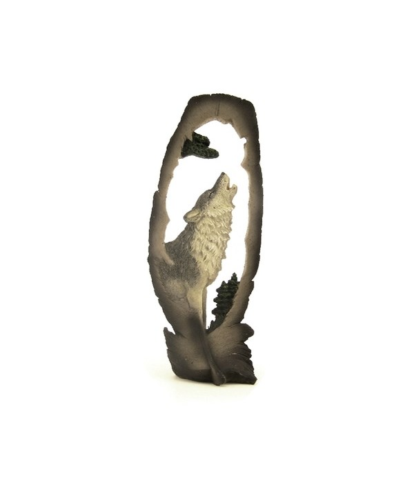 MED. HOWLING WOLF FEATHER  CUTOUT 8 in. H
