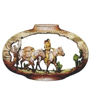 NATIVE AMERICAN W/PACK HORSE 12 in. W