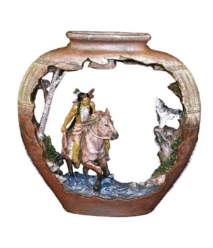NATIVE AMERICAN W/HORSE & WOLF/ POTTERY 9.5 x 9 in.