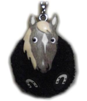 GREY HORSE POM-POM KEYCHAI  Set of 3