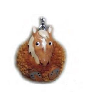 BROWN HORSE  POM-POM KEYCHAIN  Set of 3