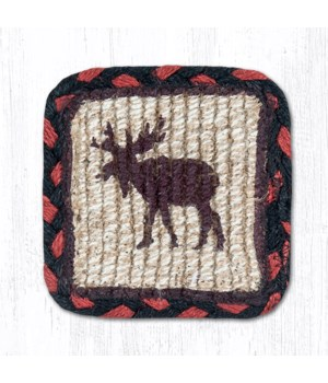 WW-19 Moose/Pinecone Wicker Weave Coaster 5 x 5  x 0.17 in.