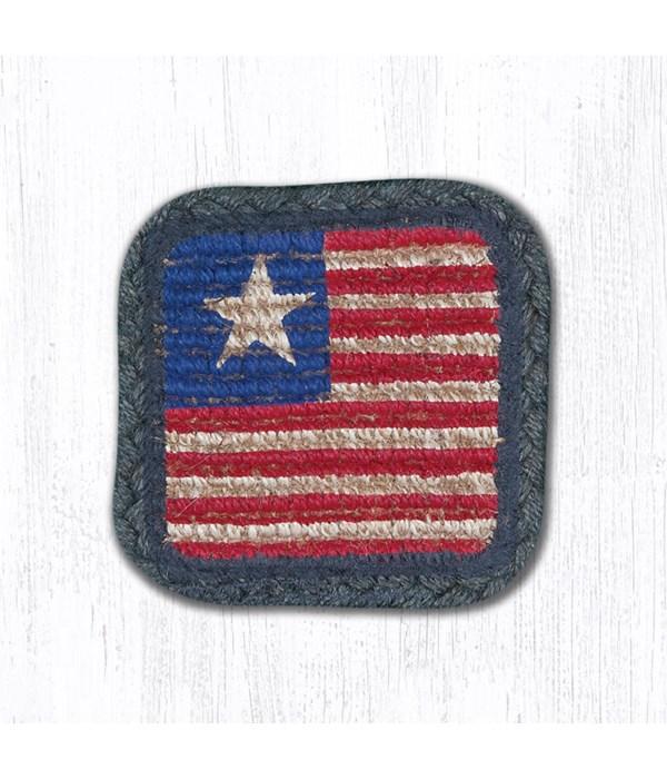 WW-1032 Original Flag Wicker Weave Coaster 5 x 5  x 0.17 in.