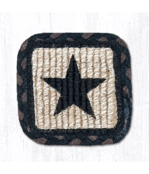 WW-313 Black Star Wicker Weave Coaster 5 x 5  x 0.17 in.