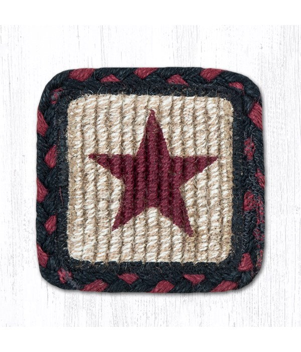 WW-344 Burgundy Star Wicker Weave Coaster 5 x 5  x 0.17 in.