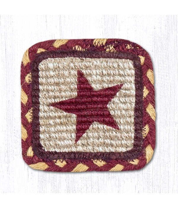 WW-357 Burgundy Star Wicker Weave Coaster 5 x 5  x 0.17 in.