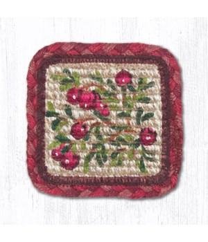 WW-390 Cranberries Wicker Weave Coaster 5 x 5  x 0.17 in.