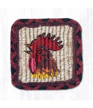 WW-391 Morning Rooster Wicker Weave Coaster 5 x 5  x 0.17 in.