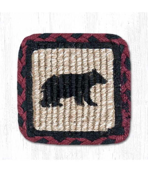 WW-395 Cabin Bear Wicker Weave Coaster 5 x 5  x 0.17 in.