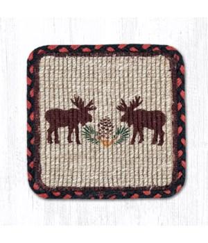 WW-19 Moose/Pinecone Wicker Weave Trivet 9 in.x9 in.x0.17 in.