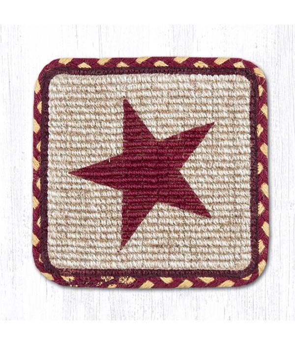 WW-357 Burgundy Star Wicker Weave Trivet 9 in.x9 in.x0.17 in.