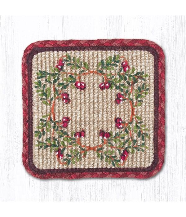 WW-390 Cranberries Wicker Weave Trivet 9 in.x9 in.x0.17 in.