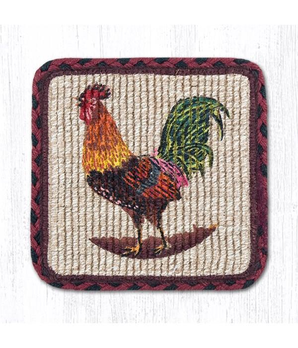 WW-391 Morning Rooster Wicker Weave Trivet 9 in.x9 in.x0.17 in.