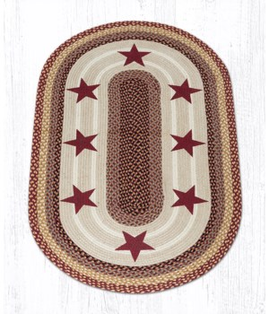 OP-357 Burgundy Stars Oval Patch 3'x5'x0.17 in.