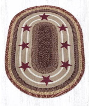 OP-357 Burgundy Stars Oval Patch 4'x6'x0.17 in.