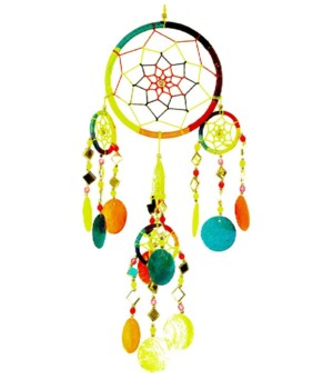 RAINBOW COLOR DREAM CATCHER WIND CHIME 4.5 x 13 in.
