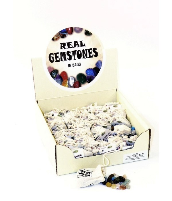 BOX  OF 36 BAGS of Polished Gemstones