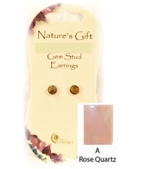 Rose Quartz 6MM Stud Earring Set of 6