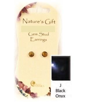 Black Onyx 6MM Stud Earrings Set of 6