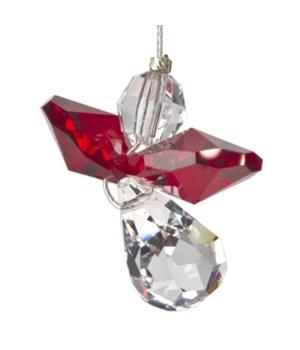 Garnet Red Hanging Crystal Angel Set of 6
