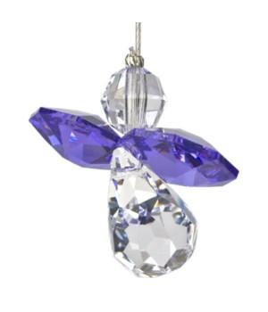 Amethyst Purple Hanging Crystal Angel Set of 6