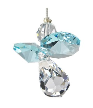 Aquamarine Blue Hanging Crystal Angel Set of 6