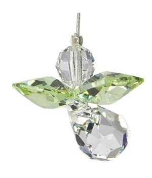 Peridot Green Hanging Crystal Angel Set of 6
