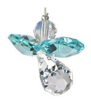 Topaz Blue Hanging Crystal Angel Set of 6
