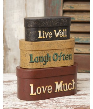 Nesting Boxes - Live, Laugh, Love, Small 9.25 in. x 8 in. x 3.5 in.