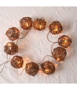 Twig Ball Garland With Lights
