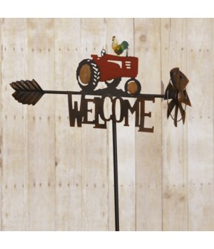 Garden Stake - Welcome With Tractor 37 in. x 20 in.