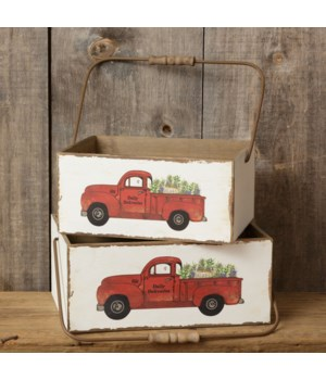 Wooden Box - Truck Daily Deliveries 6.5 in. x 14.5 in. x 10.5 in., 6 in. x 12.5 in. x 9 in.