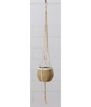 Round Hanging Cement Planter with Macrame