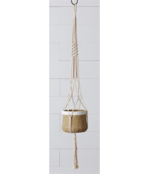 Hanging Cement Planter with Macrame