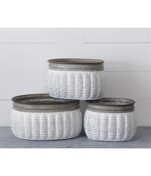 Planters - Embossed Two-Toned Oval Tins