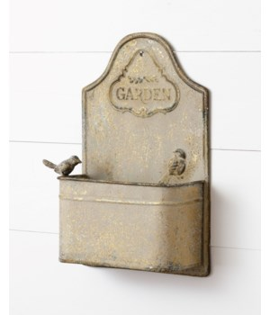 Wall Planter - Antiqued With Bird 14 H x 9 W x 3.5 D in.