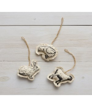 Ornaments - Rabbit, Chick, Sheep 3H x 3.5W x 0.5D, 2.5H x 4W x 0.5D, 3H x 3.5W x 0.5D in.