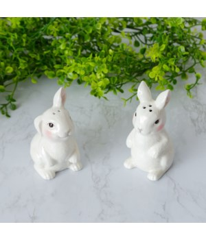 Salt And Pepper Shakers - Bunnies 4 H x 1.75 W x 3 D, 4 H x 1.75 W x 2.75 D in.