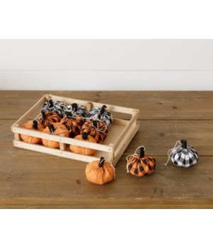 Crate Of 12 Assorted Buffalo Plaid Pumpkins