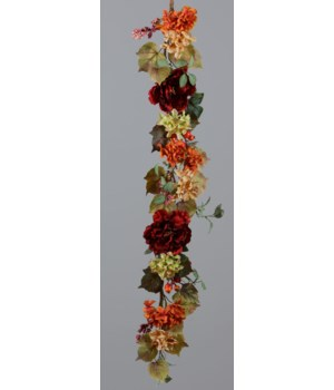 Garland - Hydrangeas, Cabbage Roses and Berries 54 in.