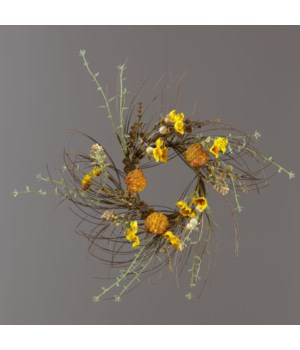Candle Ring - Thistle, Gold Mini Flowers, Fall Foliage 14 in. outside, 5 in. inside Pk02