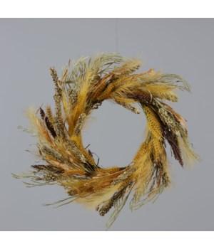 Wreath - Wheat, Fall Grasses 18 in. outside, 9 in. inside