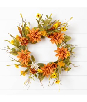 Wreath - Salmon Dahlias And Assorted Fall Flowers