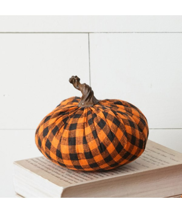 Fabric Pumpkin - Orange And Black Plaid, Sm