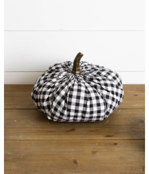 Fabric Pumpkin - Black And White Plaid, Lg
