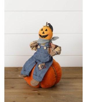 Pumpkin Scarecrow Sitting On Pumpkin