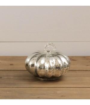 Silver Mercury Glass Pumpkin, Sm